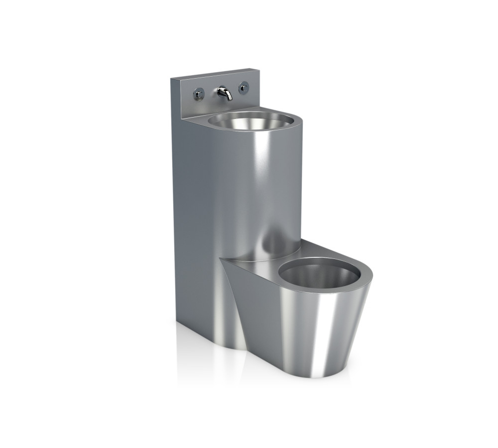 Urinal and washbasin set, centered (with accessories)