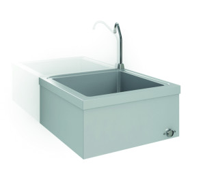 Knee operated washbasin, no thermostatic
