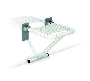 FOLDING SEAT NYLON WITH SUPORT LEG, STAINLESS STEEL WALL SUP
